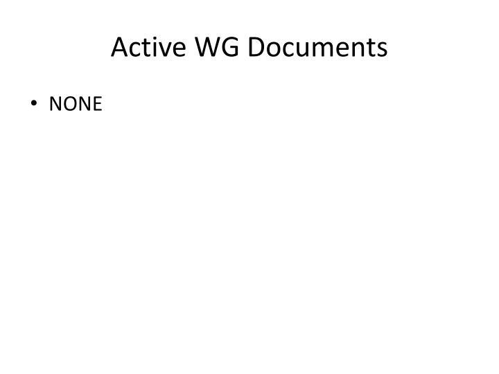 Active WG Documents
