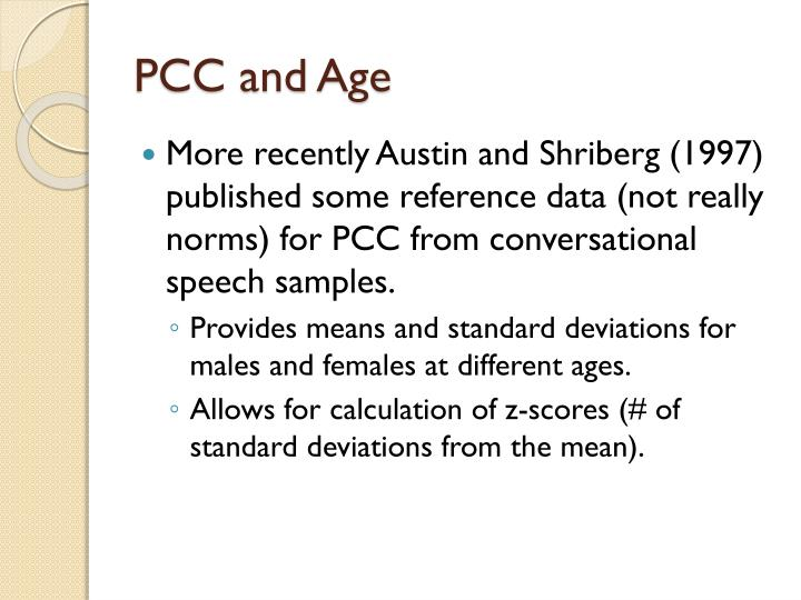 PCC and Age