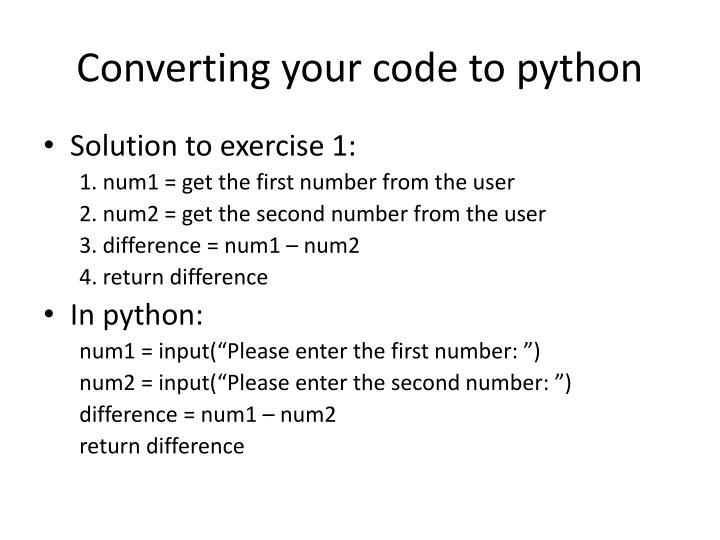 Converting your code to python