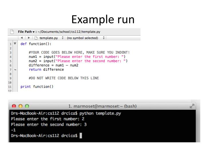 Example run
