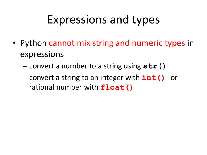 Expressions and types