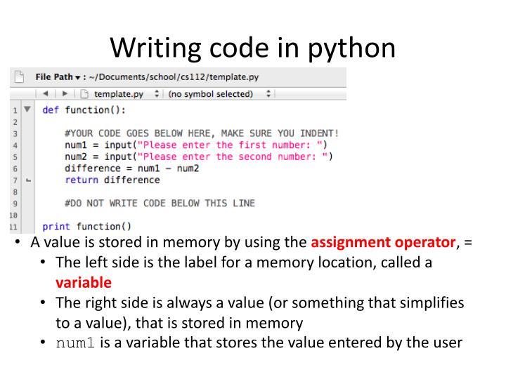 Writing code in python