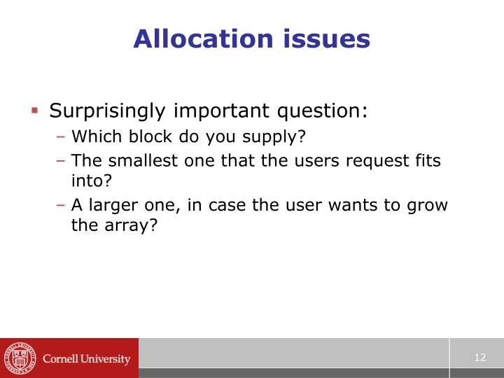 Allocation issues