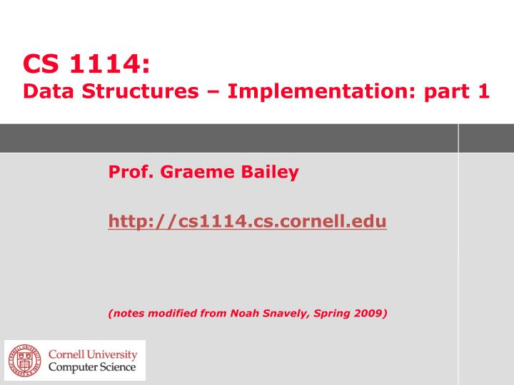 cs 1114 data structures implementation part 1
