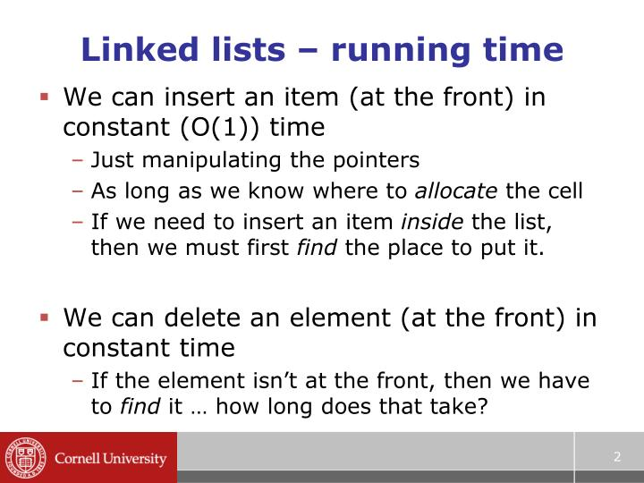 Linked lists running time