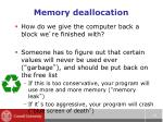 memory deallocation