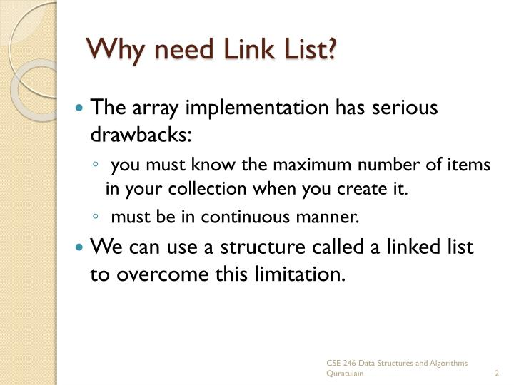 Why need link list