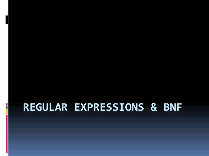 regular expressions bnf