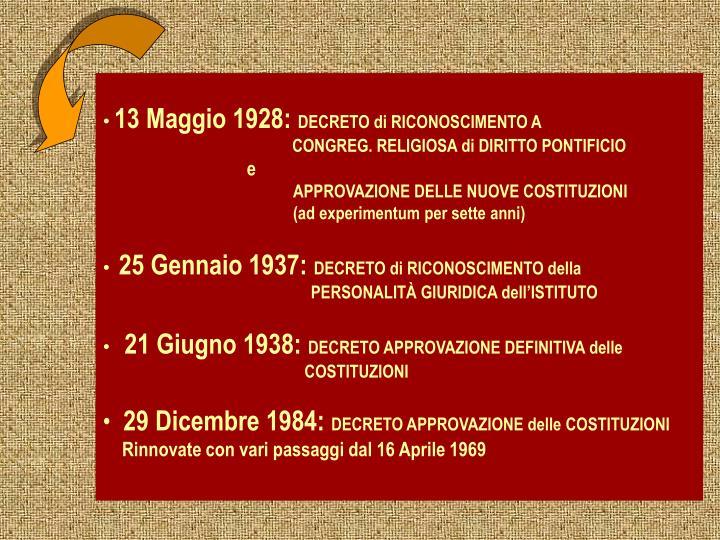13 Maggio 1928: