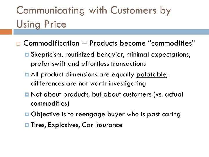 Communicating with Customers by Using Price