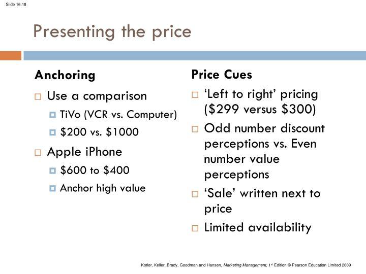 Presenting the price