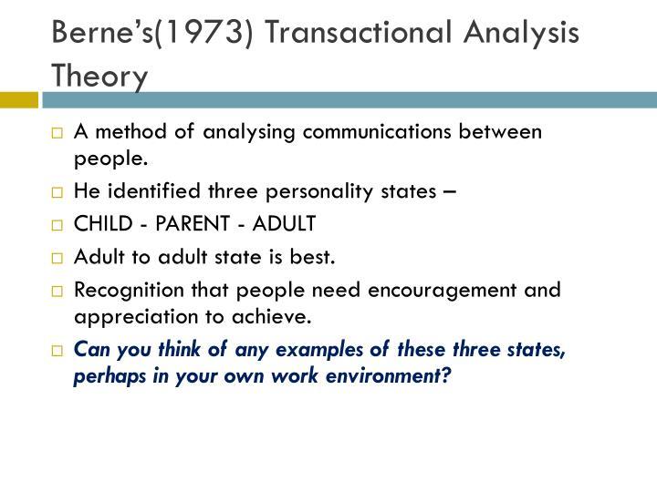 Berne's(1973) Transactional Analysis Theory