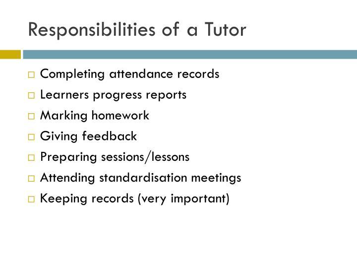 Responsibilities of a Tutor