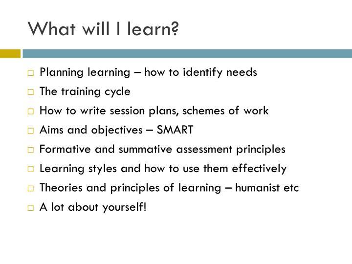 What will I learn?