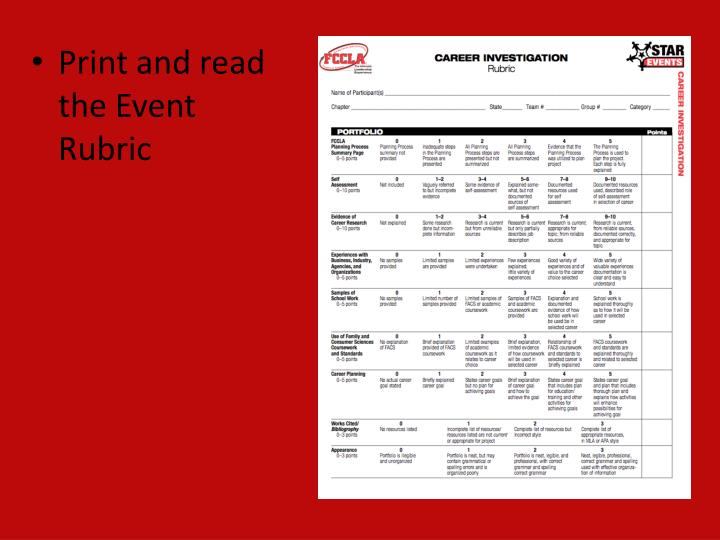 Print and read the Event Rubric