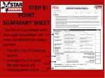 step 8 point summary sheet