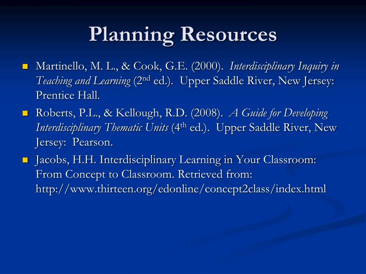 Planning Resources