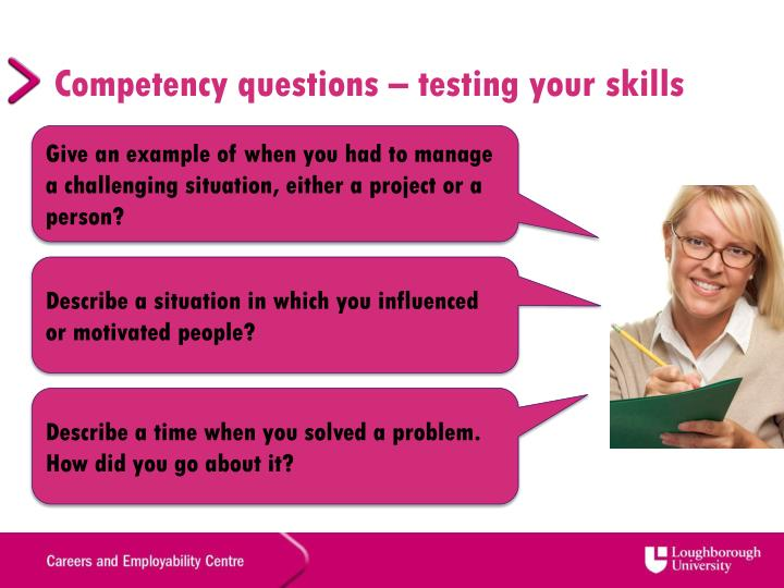 Competency questions – testing your skills