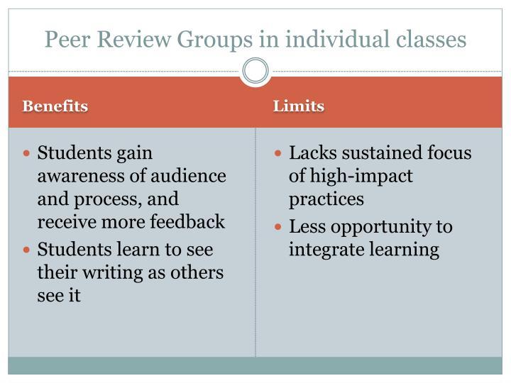 Peer Review Groups in individual classes