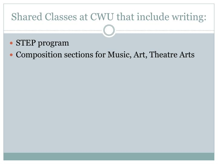 Shared Classes at CWU that include writing: