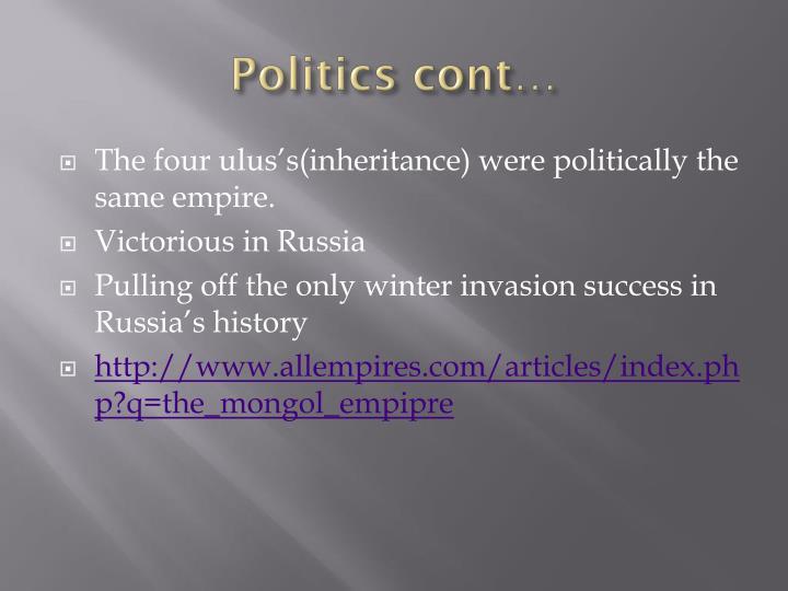 Politics cont…