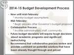 2014 15 budget development process