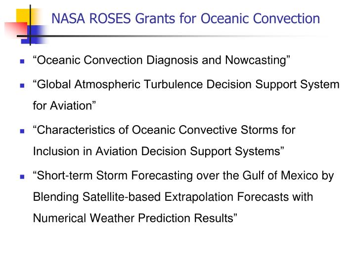 Nasa roses grants for oceanic convection