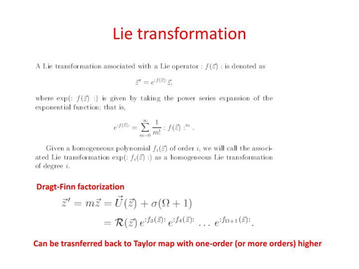 Lie transformation
