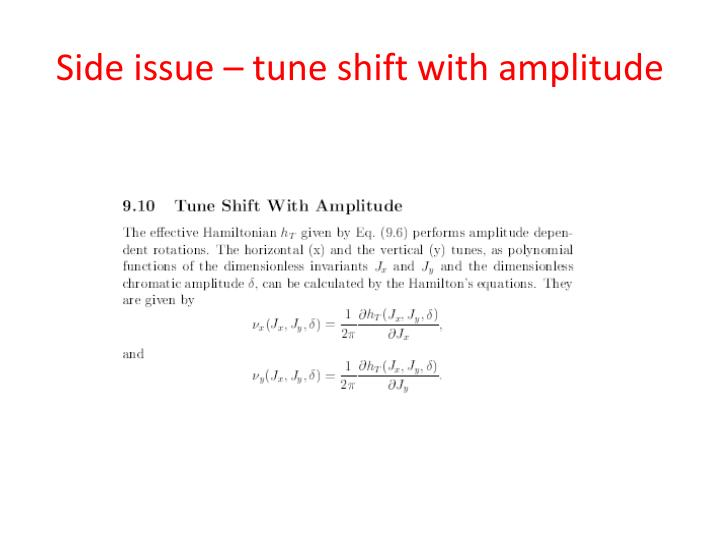 Side issue – tune shift with amplitude