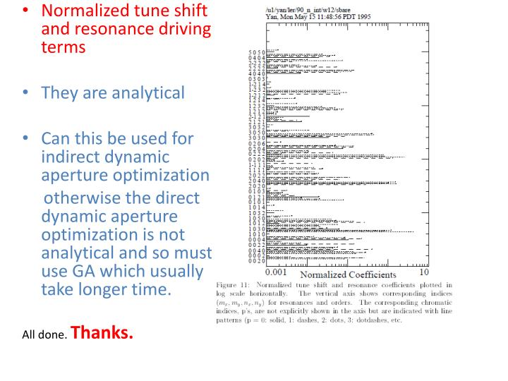 Normalized tune shift and resonance driving terms