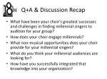 q a discussion recap