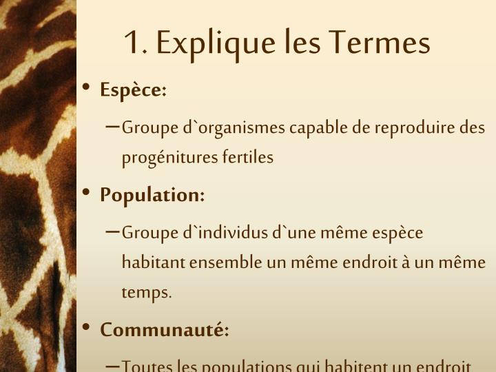 1. Explique les Termes