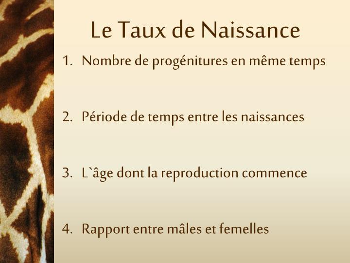 Le Taux de Naissance