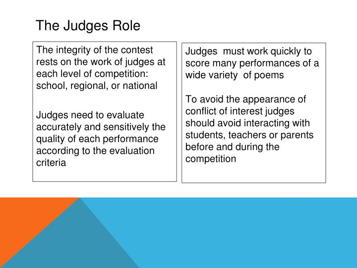 Judges  must work quickly to score many performances of a wide variety  of poems