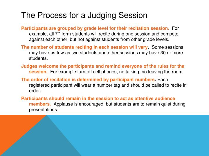 The Process for a Judging Session