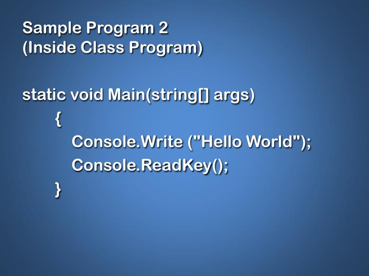 Sample Program 2