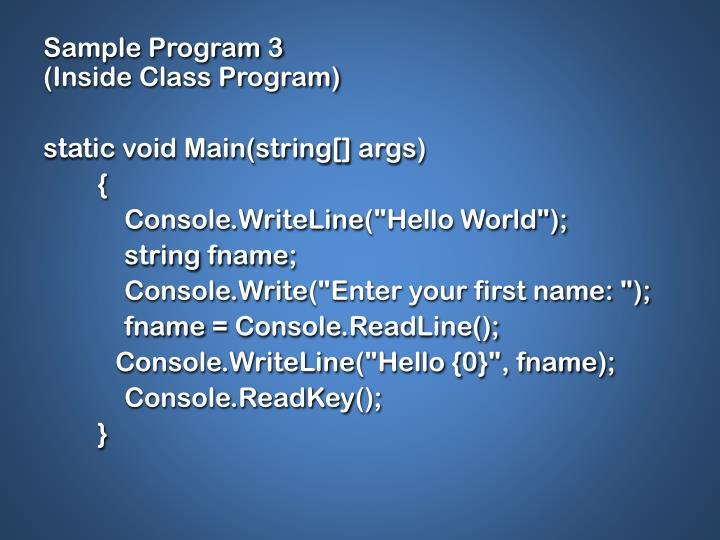 Sample Program 3