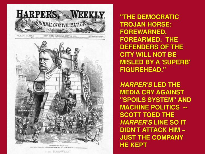 """""""THE DEMOCRATIC TROJAN HORSE: FOREWARNED, FOREARMED.  THE DEFENDERS OF THE CITY WILL NOT BE MISLED BY A 'SUPERB' FIGUREHEAD."""""""