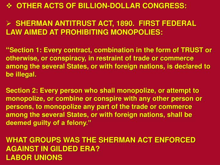 OTHER ACTS OF BILLION-DOLLAR CONGRESS: