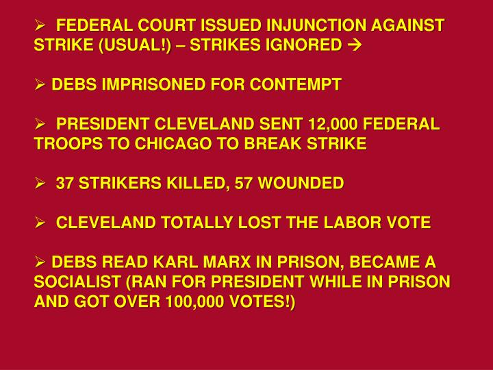 FEDERAL COURT ISSUED INJUNCTION AGAINST STRIKE (USUAL!) – STRIKES IGNORED