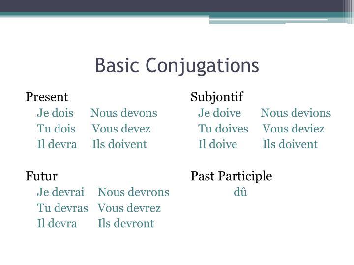 Basic Conjugations