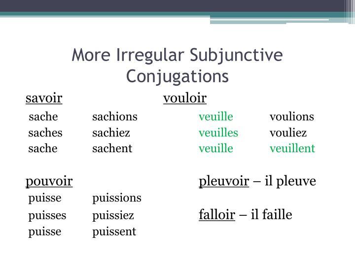 More Irregular Subjunctive Conjugations