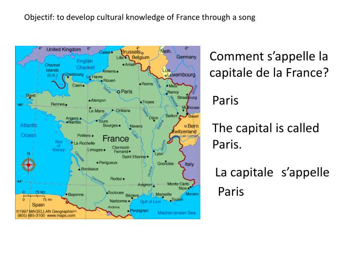 Objectif: to develop cultural knowledge of France through a song