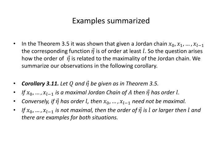 Examples summarized