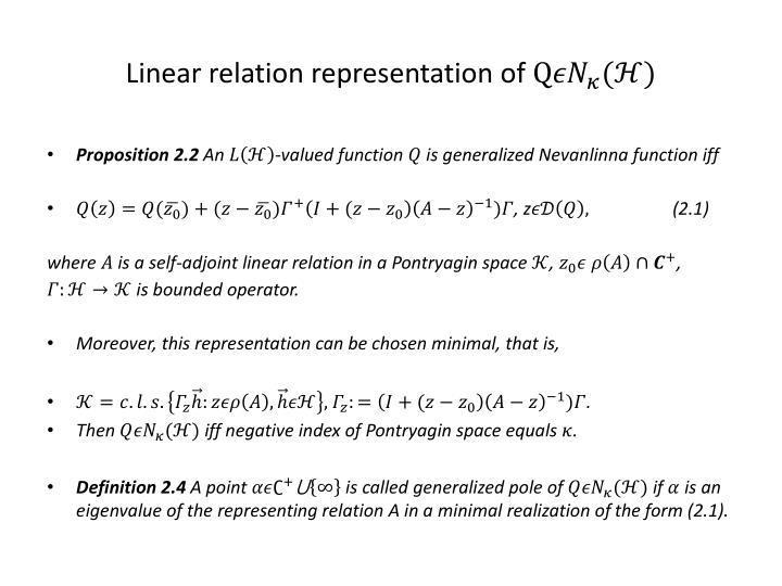 Linear relation representation of