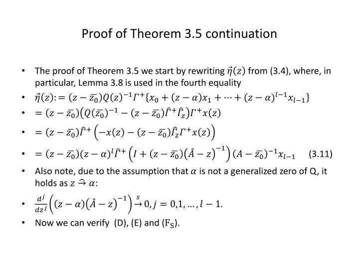 Proof of Theorem 3.5 continuation