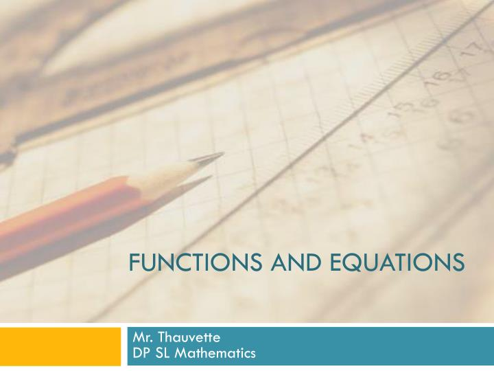 functions and equations