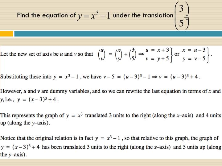 Find the equation of                  under the translation