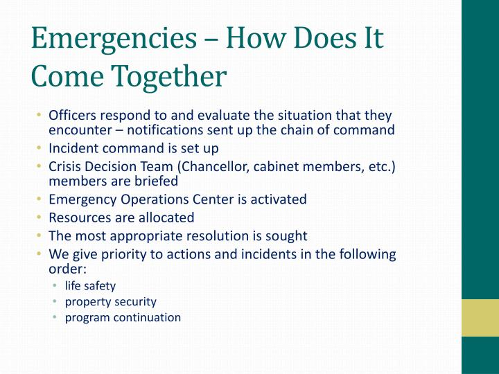 Emergencies – How Does It Come Together