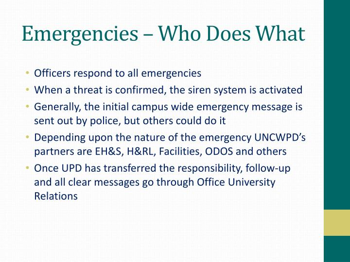 Emergencies – Who Does What